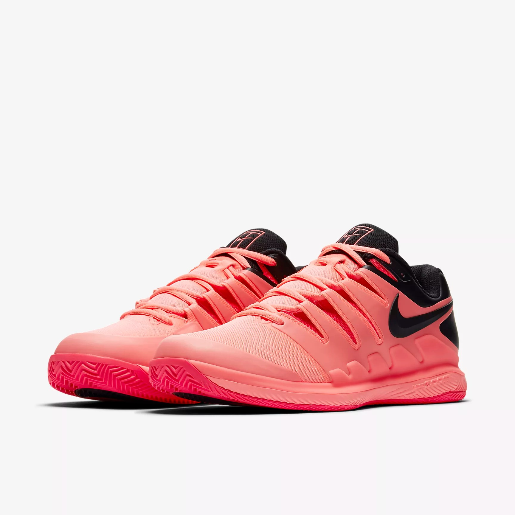 Nike PerformanceAIR ZOOM VAPOR X CLAY - Outdoor tennis shoes - black/solar red/white 9tIUL