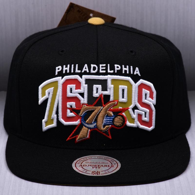 1fdd90b4f41 Mitchell   Ness NBA Philadelphia 76ers Reflective Tri Pop Arch Snapback Cap