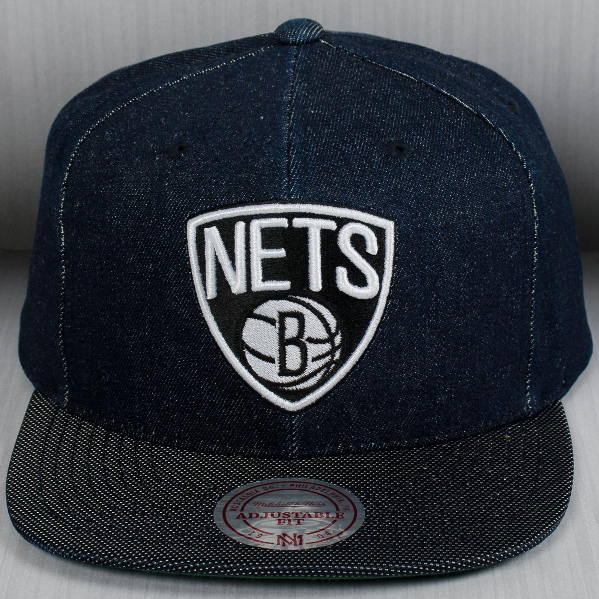 size 40 14de9 7c7f1 Mitchell   Ness NBA Brooklyn Nets Raw Denim Snapback Cap