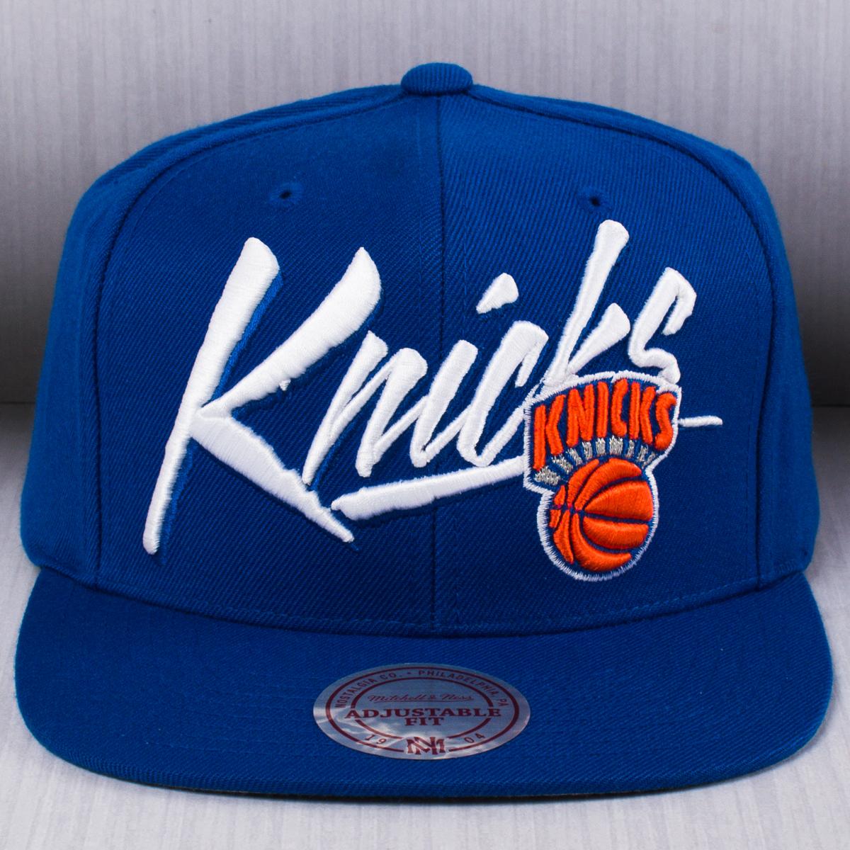 43808a6e0a2 Mitchell   Ness NBA New York Knicks Vice Script Solid Snapback Cap ...
