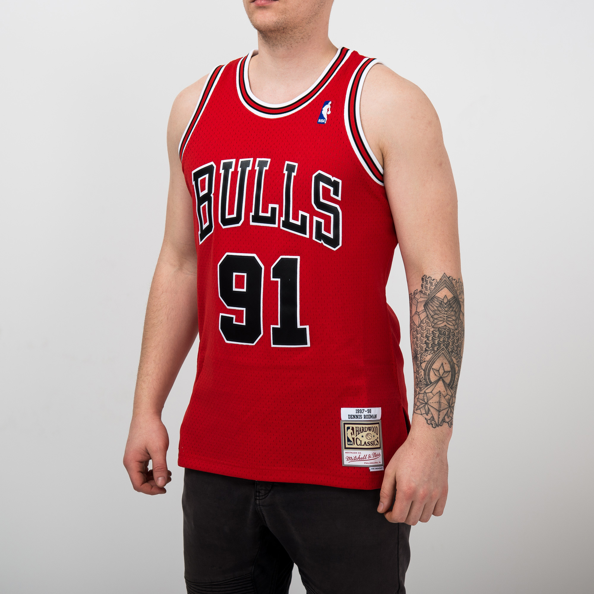 detailing 66163 0cab3 Mitchell & Ness NBA Chicago Bulls Dennis Rodman 1997-98 Road ...