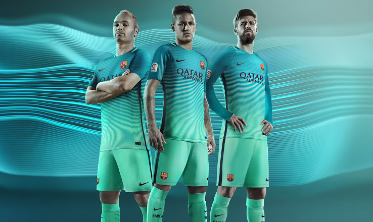 d94e18fea48 The Nike Barcelona 2016-17 third jersey combines teal ( Energy ) with mint  green ( Green Glow ) in a gradient design akin to that of the Manchester  City ...